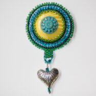Blue-Green Flower Heart Brooch