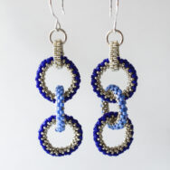Blue Triple Rings – Earrings