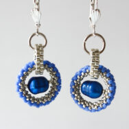Cobalt Pearl Pale Blue Orbit – Earrings