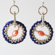Orange Pearl Indigo Orbit – Earrings