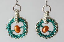 Orange Pearl Turquoise Orbit – Earrings